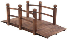 Vingli 5 ft Garden Bridge, Classic Wooden Arch with Safety Rails Stained Pond