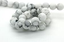 Howlite Matte Round Sphere Ball Natural Loose Gemstone Beads - Full Strand