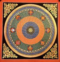 Large Genuine HandPainted Tibetan Mantra Mandala thangka Painting Meditation 12