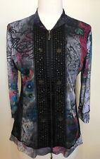 GABRIELLA FRATTINI Meshy Graphic Print Zip Up Beaded Long Sleeve Funky Top 10