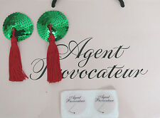 AGENT PROVOCATEUR TASSLED SEQUINED PASTIES GREEN/RED BRAND NEW ONESIZE