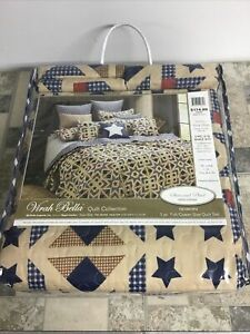 VIRAH BELLA 3pc Full Queen QUILT SET : BARN STARS & PLAID FARMHOUSE CABIN