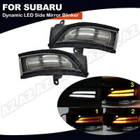 Smoked Sequential LED Side Mirror Signal Lights For Subaru WRX Forester Impreza