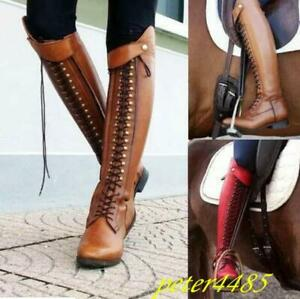Womens Lace Up  Riding Knee High Boots Solid Buckle Combat Knight Shoes Booties