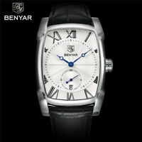 BENYAR  Date Men Pilot Sport Quartz Wrist Watch Leather Band Military Watches