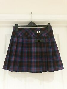 Tartan Skirt by PAPAYA Blue/Red/Black Check Mini Kilt Look UK Size 8