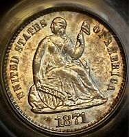1871 Seated Liberty Half Dime Pcgs Ms64 CAC