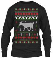 Goat Ugly Christmas Sweater Gildan Long Sleeve Tee T-Shirt