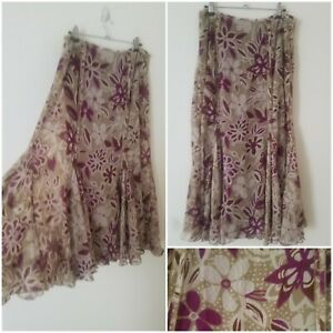 Vintage Boho Purple Cream Floral Gypsy Hippie A Line Midi Skirt Size 14 Prairie