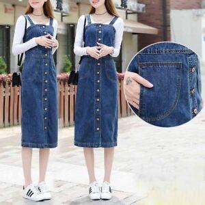 Womens Long Denim Dungaree Overall Dress Jean Pinafore Suspender Skirts S-5XL