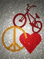 BIKE PEACE LOVE BRICK GRUNGE HEART BICYCLE WALLPAPER ART PRINT POSTER QU217A