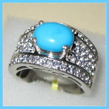Sleeping Beauty Turquoise TGW 3.75 cts Tanzanite Ring Sterling  Silver 925 sz 9