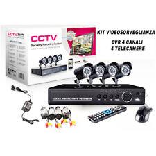 KIT VIDEOSORVEGLIANZA 4 CANALI DVR 4 TELECAMERE INFRAROSSI 24 LED LAN 3G USB PC