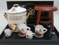 Dollhouse Miniature Reutter Porcelain Christmas Mulled Wine Gluhwein Set 1.632/8