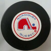 QUEBEC NORDIQUES VINTAGE NHL VICEROY MFG. APPROVED INGLASCO GAME PUCK CANADA