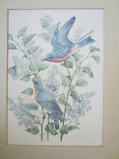 Blue Birds with Lilacs, Signed 1981 Lithograph by Jill Fogelsong