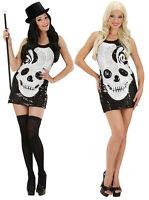 Ladies Sugar Skull Short Sequin Day Of Dead Halloween Fancy Dress Costume 8-16