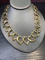 """Vintage Heart Link Wide Bright Gold Nice Quality Chunky  Detailed Necklace 18"""""""