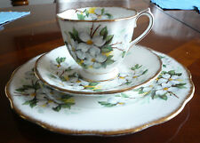 Vintage Royal Albert Bone China White Dogwood England Tea Cup, Saucer, Plate