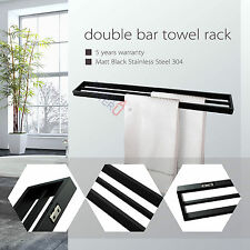 800mm Towel Rack Rail Double Stainless Steel 304 Wall Mounted Black Bathroom NEW