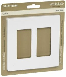Lutron CW-2-WH Claro 2-Gang Wall Plate, White, 1-Pack