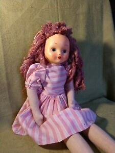 Vintage Polish Cloth Doll, 18 Inches with Plastic Mask Face & Mohair Hair