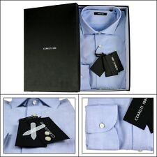 Men's CERRUTI Blue Cotton Twill Spread Collar Dress Shirt 16 1/2 L 42 NIB $145!
