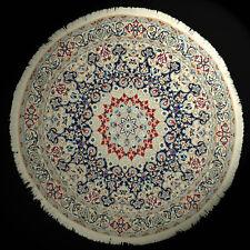 feiner Nain mit Seide rund IRAN Orient-Teppich handgeknüpft Ø 150cm beige blau