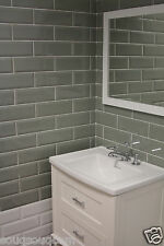 EXTRA LARGE GLOSS WARM GREY METRO VICTORIAN BEVELLED BRICK WALL TILES 10 X 30