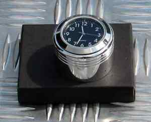 British Made Grooved Triumph Bonneville® Billet Stem Nut Cover with Black Clock