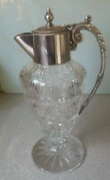 STUNNING VINTAGE  SILVER PLATED & CUT GLASS CLARET JUG    11 INCHES TALL