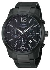 Pulsar Men's PT3287 On The Go Black Analog Chronograph Watch 44MM
