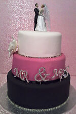 BRIDAL/WEDDING CAKE TOPPER/DECORATION - Dancing Bride & Groom with Handcuffs