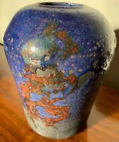 Vintage 1980s Hand Crafted Studio Pottery Decorative Ceramic Vase Modern Signed