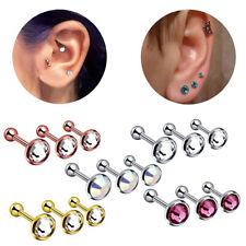 3Pcs Crystal Cartilage Barbell Earrings Women Ear Stud Body Piercing Jewelry New
