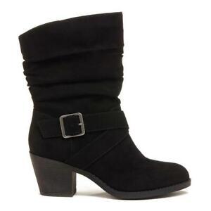 Rocket Dog Shelly Women's Black Block-Heel Strappy Buckle Slouch Boot