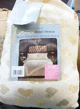 DOUBLE FLEECE HEART QUILT COVER & 2 PILLOWCASES VELVET TOUCH CREAM/GOLD