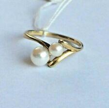 Ring mit 2 Stück Perle Gold 333  Größe 16,5 mm - 52   8K (836)