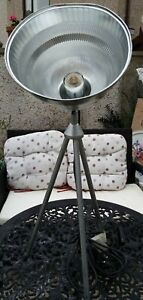 Habitat Tripod Table/Floor Lamp Silver Metal Hammered Look