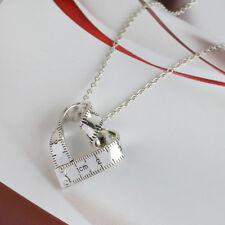 1pc Women Silver Twist Ruler Pendant Necklace Heart Chain Fashion Jewelry
