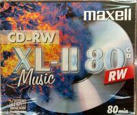 Maxell Audio CD-RW Jewel Case ReWritable Recordable Blank Music 80 Min Disc x 1