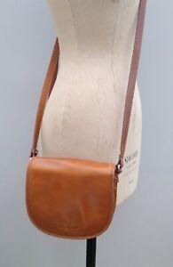 Gianni Conti Brown Tan Leather Saddle Shoulder Satchel Cartridge Bag VGC