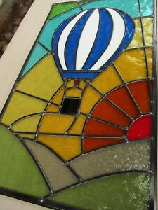 Newly crafted TRADITIONAL Stained Glass Window Panel HOT AIR BALLOON 377x660mm