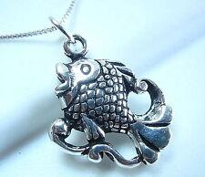 Fish Pendant 925 Sterling Silver Corona Sun Jewelry sea food ocean beach