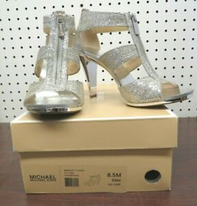 Formal Women's Michael Kors Berkley T Strap  Silver / Glitter - NIB 8.5M/39M