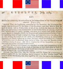 1783 FOURTH 4TH OF JULY DECLARED HOLIDAY Antique Rev Revolutionary War Patriotic