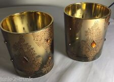 Set of 2 Mirrored Gold w/ Gold Embellishment Design Votive/Candle Holders