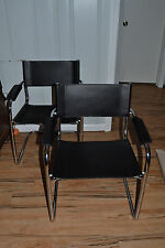 Pair of Italian Black Leather Chrome Chairs Vintage Mid Century Modern Bauhaus