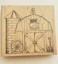 Rubber Stamp Barn Farm Silo Hay Wagon Wheel - large stamp great size