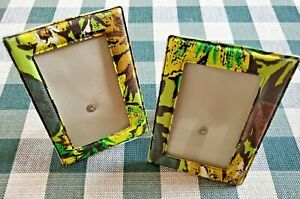 Pair of Vintage 1970's  Vinyl Photo Frames with Glass